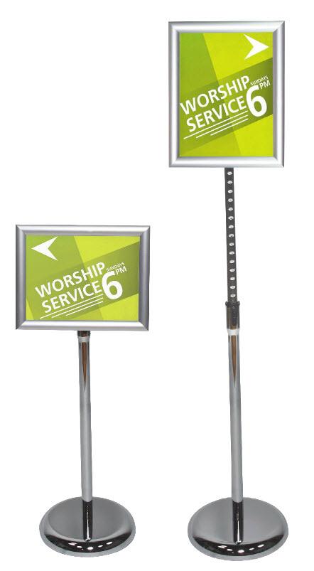 advocate pedestal sign stand 8 5 x11 floor standing sign holders display aisle. Black Bedroom Furniture Sets. Home Design Ideas