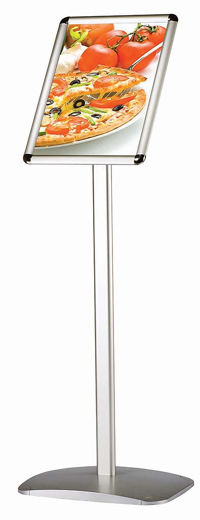 Angled Menu Board Display Stand With Snap Frame Floor