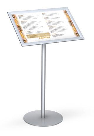 snapframe pedestal stand 14 x22 floor standing sign holders display aisle. Black Bedroom Furniture Sets. Home Design Ideas
