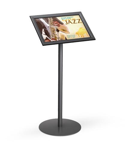 angled snapframe pedestal stands floor standing sign holders display aisle. Black Bedroom Furniture Sets. Home Design Ideas