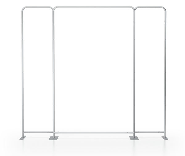 3 seperate tube frames joined for 10ft booth backwall display
