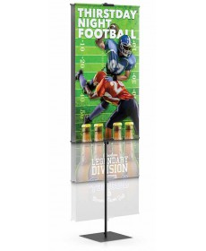 Telescopic height adjustable retail banner stand with square base black finish