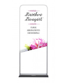 Stretch fabric slips over the aluminum frame display